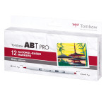 Feutre pinceau à alcool ABT PRO Set basique 12 couleurs