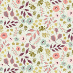 Tissu 50 x 140 cm Fleurs et feuillage menthe et or