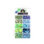 Kit de perles 11 cases assortiment bleu-vert