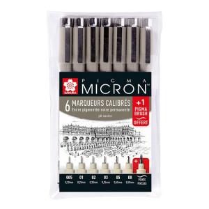 Feutres calibrés Pigma Micron x 6 + 1 feutre pinceau