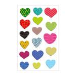 Stickers 3D Cooky cœurs à Motifs x 17