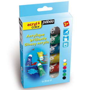 Kit découverte Acrylcolor 6 tubes 20 ml