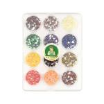 Kit de 12 capsules de strass en résine à coller - Multicolore - Ø 2 mm