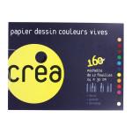 Papier à dessin de couleurs vives pochette de 12 feuilles 24x32 cm 160 g/m2