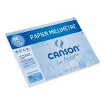 Papier millimétré Canson 90g pochette de 12 feuilles A4 bleu