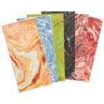 Papier Lokta marbré 51 x 76 cm 80 g/m² - Magenta marbré orange