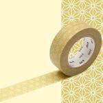 Masking Tape 1P Asanoha karekusa écru 15 mm x 10 m