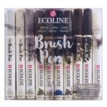 Feutre pinceau Ecoline Brush Pen Set 9 gris + 1 blender
